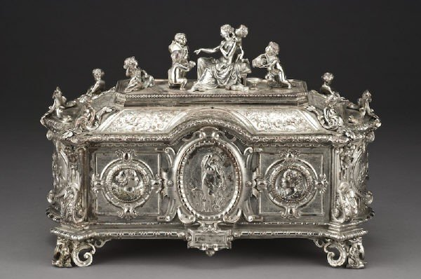 6: Large French silver plate jewelry casket