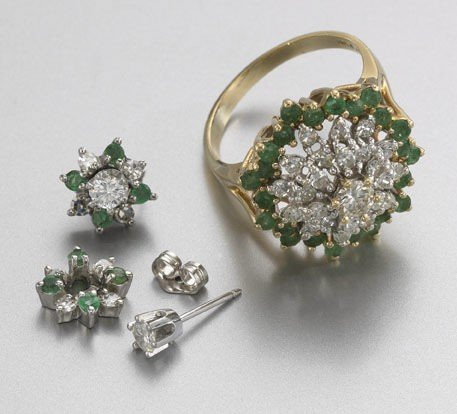 10: 14K gold, diamond and emerald ring and earrings,