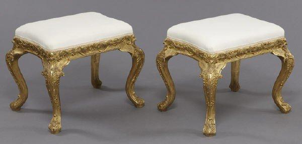 19: Pr. Louis XV style gilt wood benches