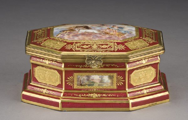22: French Bloch porcelain and enamel box,