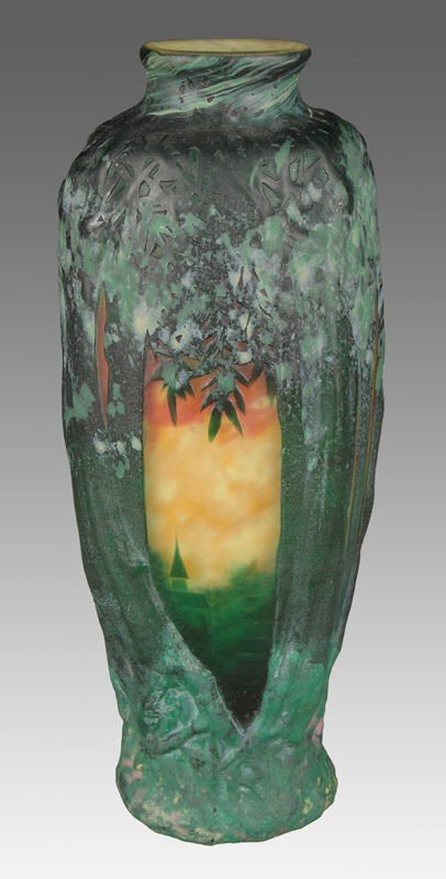 119: Daum Nancy French cameo blow out vase,