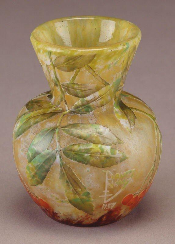 1: Daum Nancy French cameo vase,