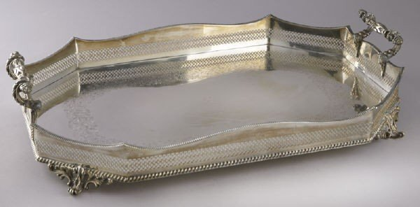 2: Impressive English silver plate butler's tray