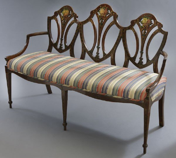 7: Hepplewhite style mahogany chair back settee,