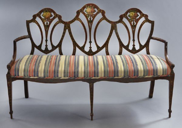 7: Hepplewhite style mahogany chair back settee, - 2