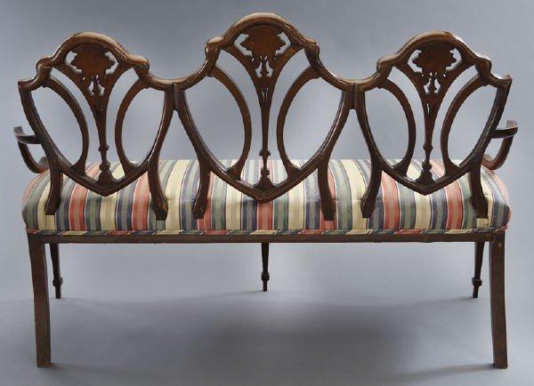 7: Hepplewhite style mahogany chair back settee, - 4