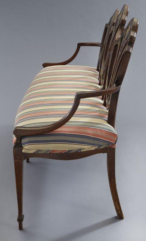 7: Hepplewhite style mahogany chair back settee, - 5