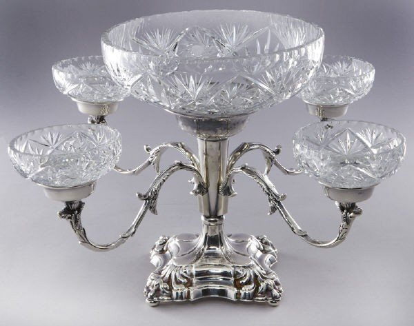8: English Sheffield silver plated epergne