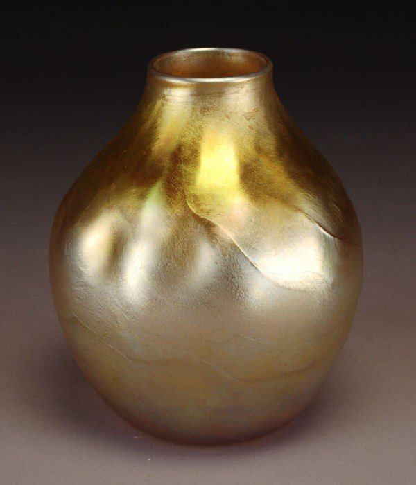 9: Tiffany gold Favrile glass cabinet vase,