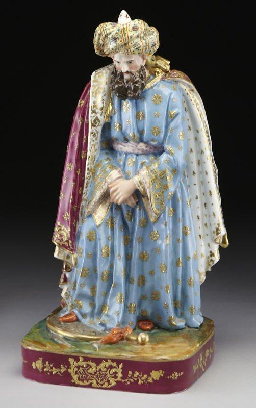 10: French porcelain Sultan figural scent bottle,