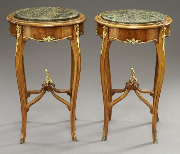 17: Pr. Louis XVI style ormolu mounted side tables