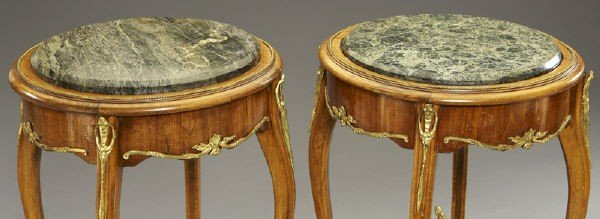 17: Pr. Louis XVI style ormolu mounted side tables - 3