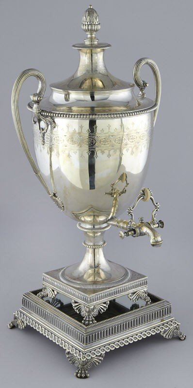 18: Impressive English Regency silver plated hot water