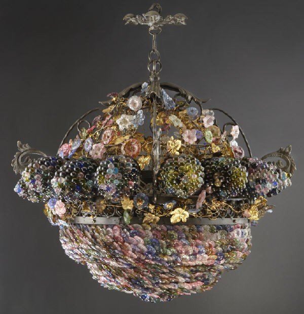 21: French Art Nouveau style glass chandelier