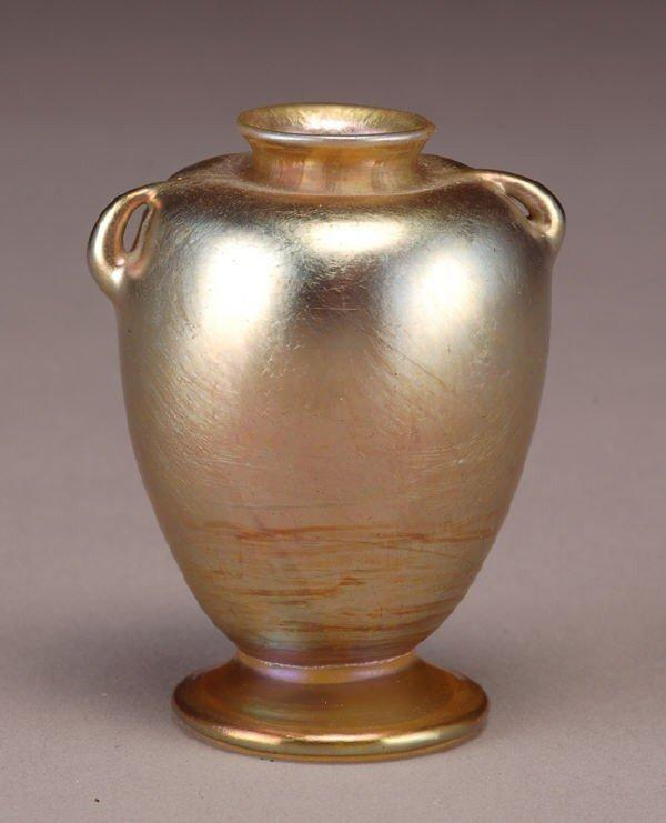 22: Tiffany gold Favrile glass cabinet vase, of