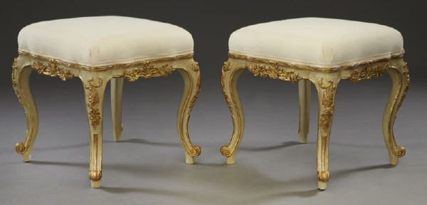 24: Pr. Louis XV style gilt and patinated wood stools,