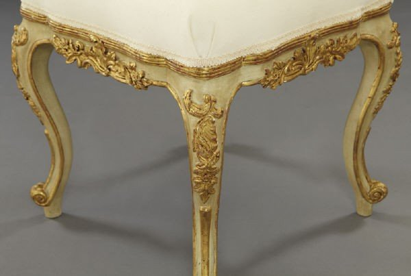 24: Pr. Louis XV style gilt and patinated wood stools, - 4