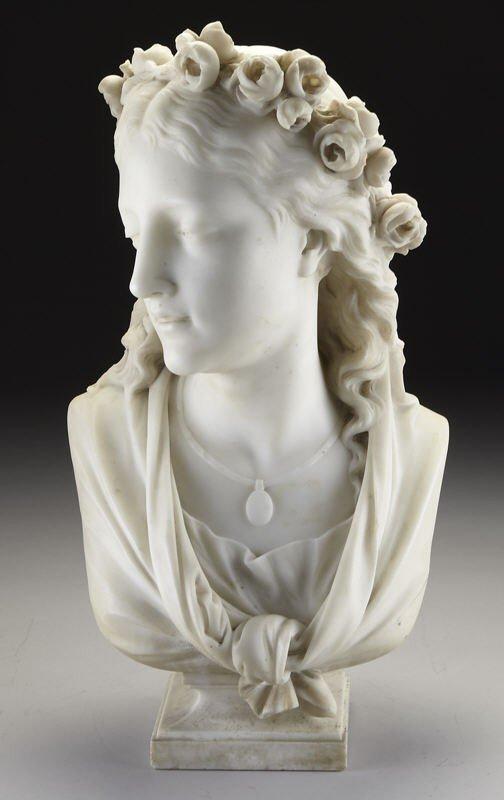 30: Eugene Antoine Aizelin marble sculpture bust