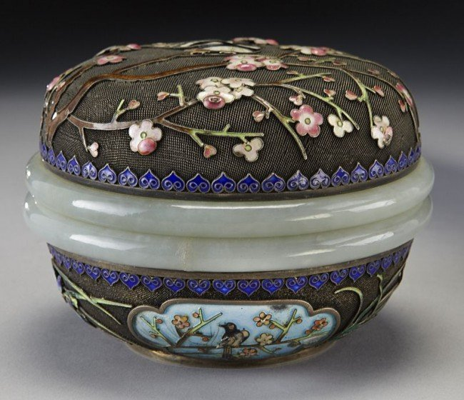 1: Chinese Qing white jade mounted enamel over silver b