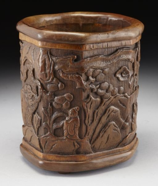 2: Chinese Qing carved bamboo brush pot depicting figur