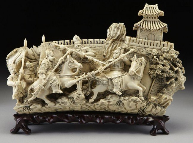 4: Chinese carved ivory figural group (International bu