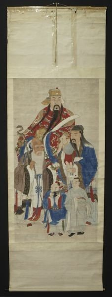 6: Chinese watercolor scroll depicting the Gods of Long