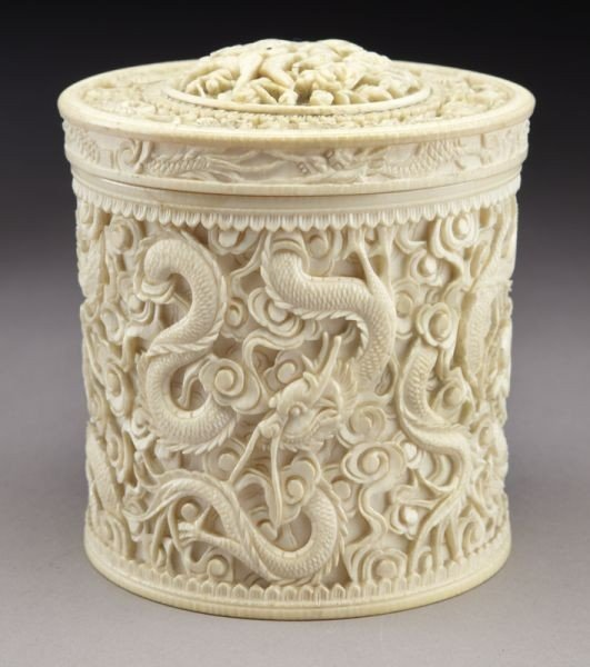 11: Chinese carved ivory tea caddy depicting dragons (I