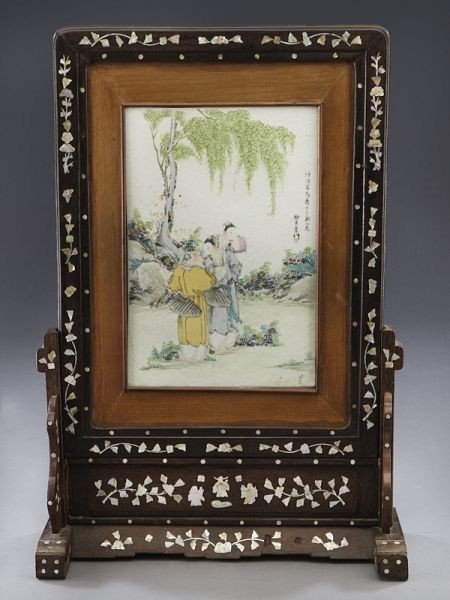 17: Chinese Qing Qianjiang porcelain table screen depic
