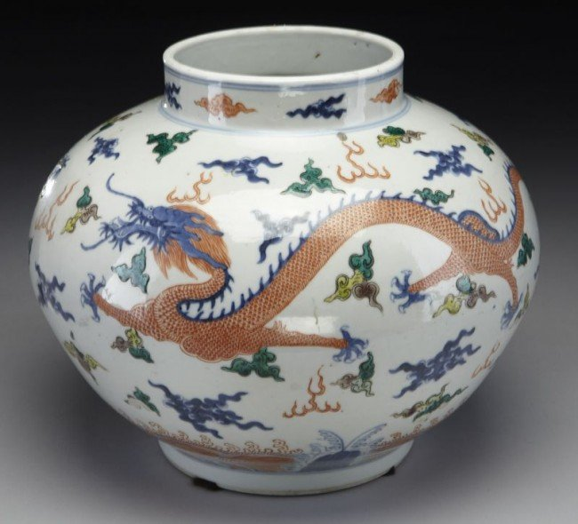 20: Chinese Qing blue and white and wucai porcelain jar