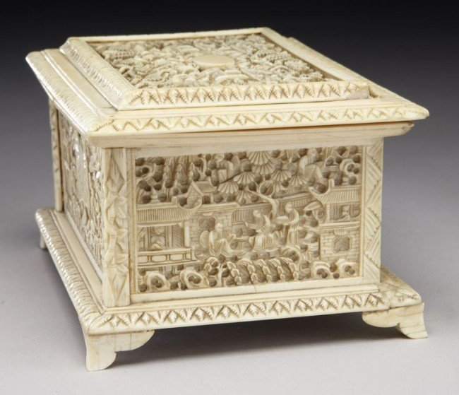 43: Chinese Qing carved ivory jewelry box depicting (In - 3