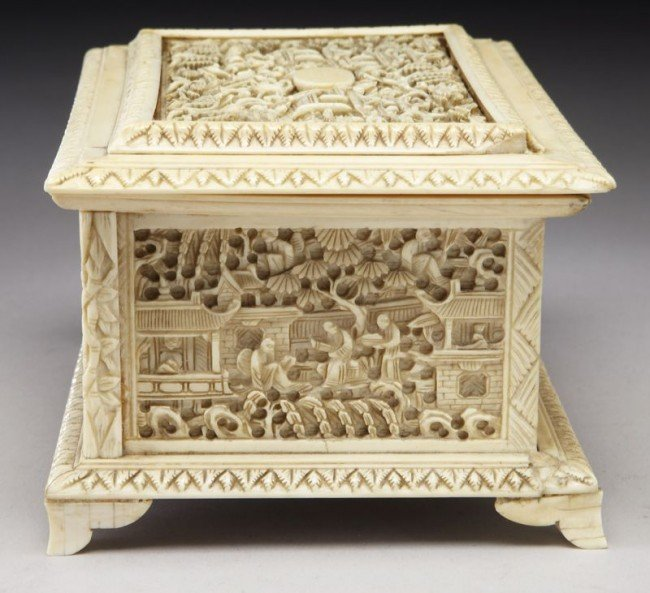 43: Chinese Qing carved ivory jewelry box depicting (In - 5
