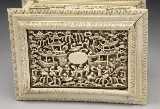 43: Chinese Qing carved ivory jewelry box depicting (In - 6