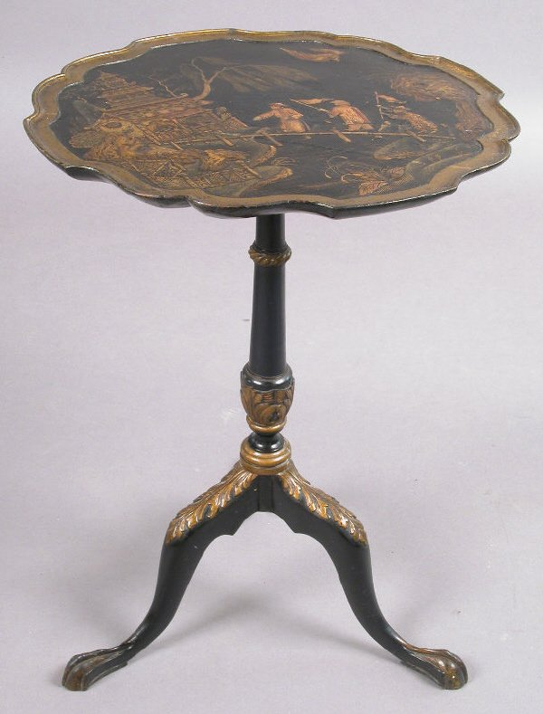 1: A chinoiserie and gilt decorated tea table