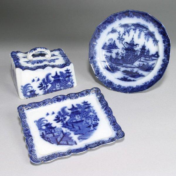 2: 2pcs. English flow blue pottery including a