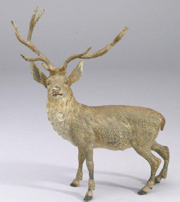 6: Austrian cold-painted bronze stag having exquisite