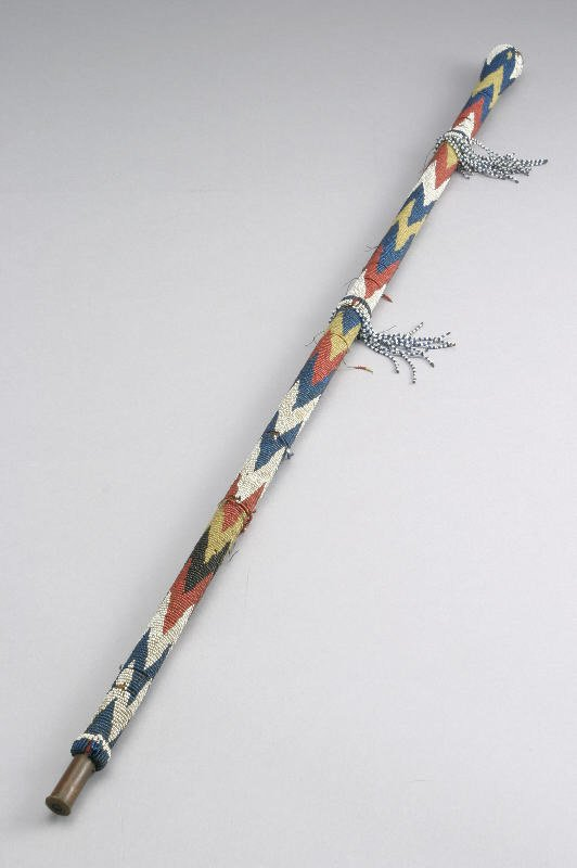 7: An unusual Plains Indian beaded walking stick made