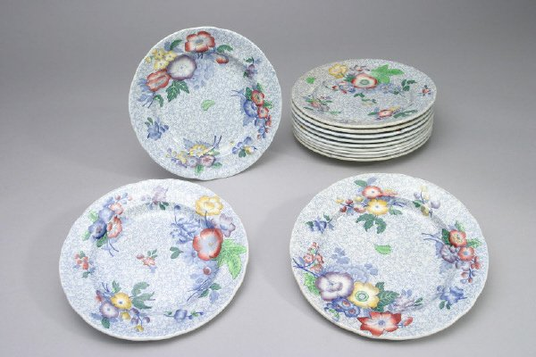 12: (12) English Copeland Spode transferware plates