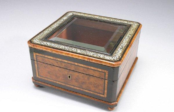 13: Signed Alph. Giroust Paris mixed wood humidor,
