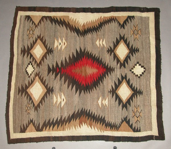 18: A Navajo Indian Crystal weaving, hand carded &