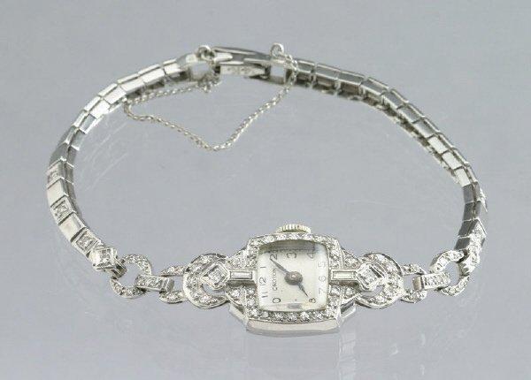23: Ladies Croton Art Deco platinum and diamond watch