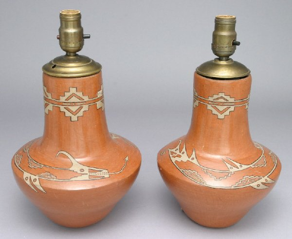 248: Pr. of American Indian vases shaped as table lamps