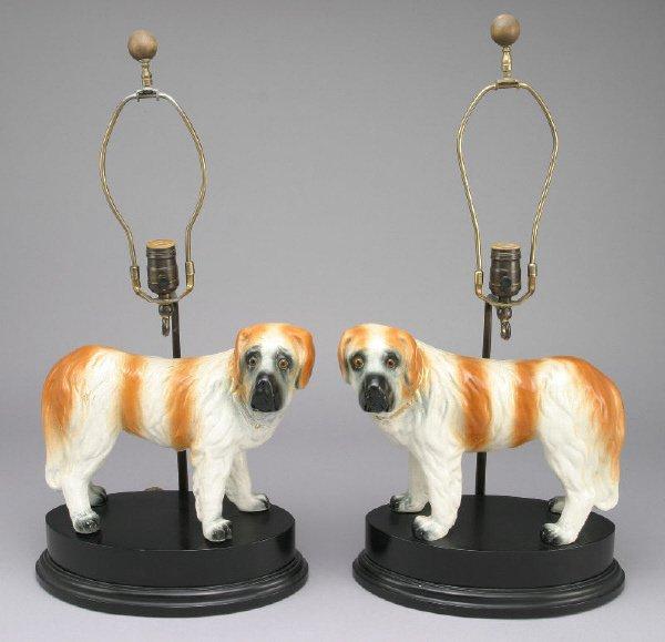 285: Pair Staffordshire pottery St. Bernard dog figures