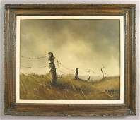 304: W. Cooper western landscape oil painting on canvas