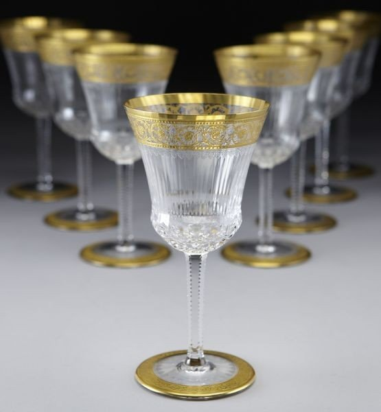1: (8) St. Louis Crystal Thistle pattern water goblets