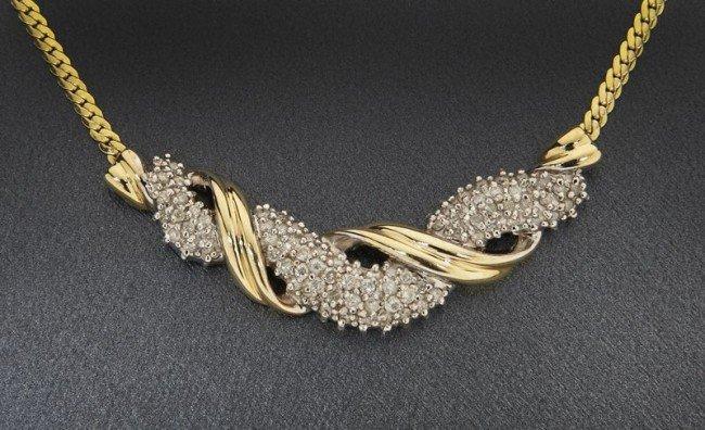 6: Italian 14K gold and diamond necklace
