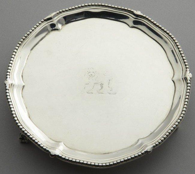 8: George III sterling silver waiter by John Carter