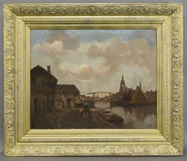 "9: Christiaan Snijders, ""Dutch Canal Scene"" oil"