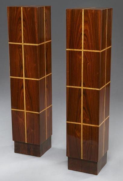 12: Pr. Art Deco style inlaid pedestals