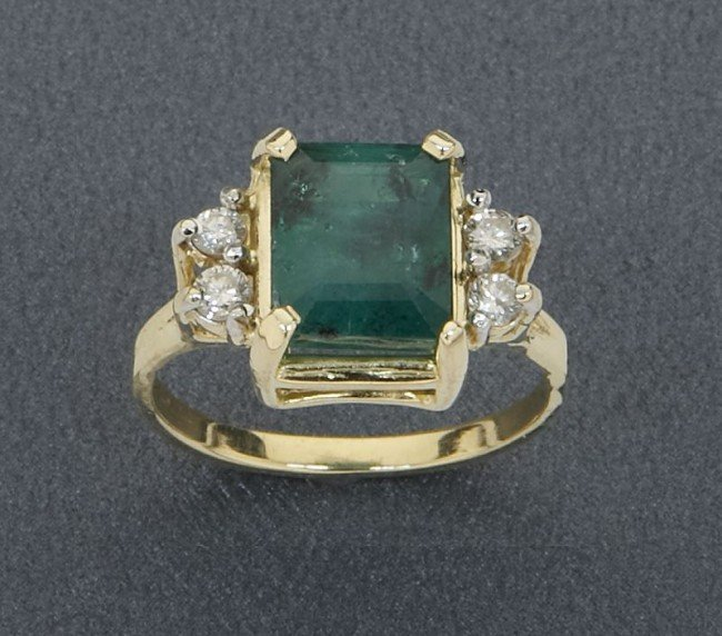 13: 14K gold, emerald, and diamond dinner ring,