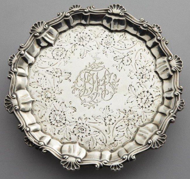 18: George III sterling silver waiter, Ebenezer Coker,